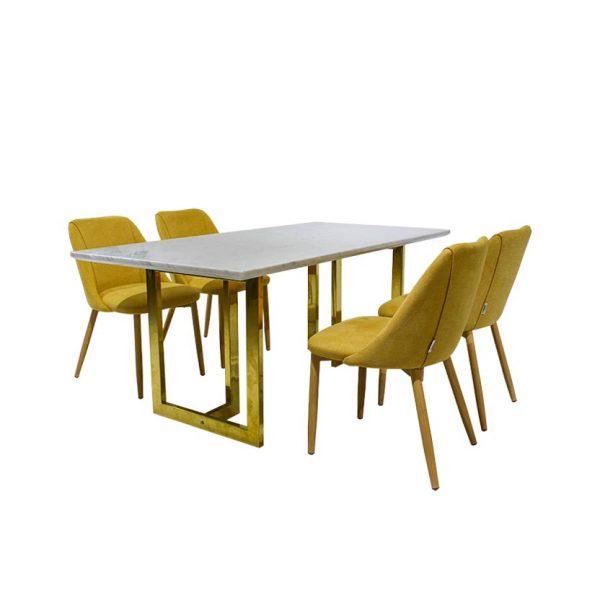 bàn ăn mặt đá chân inox vàng furnist jervis