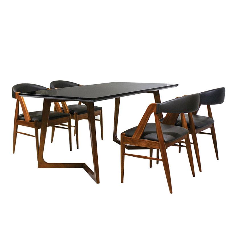 bàn ăn mặt đá đen furnist symmetry