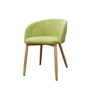 ghế bọc vải chân sắt giả gỗ furnist bizu